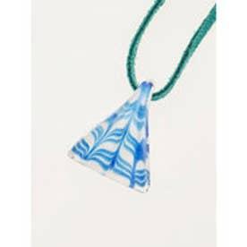 【チャイハネ】HAND MADE ガラス細工 トライアングルネックレス ブルー