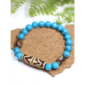 【チャイハネ】天珠スリーストーン天然石ブレスレット ブルー