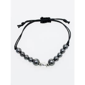 【チャイハネ】数珠ストリングブレスレット 8mm玉天然石 ブラック系その他