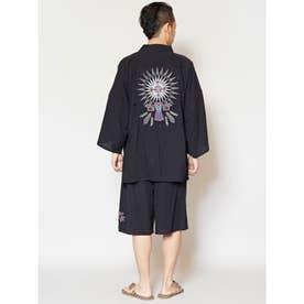 【チャイハネ】ネイティブアメリカンバック刺繍MEN'S甚平 ブラック