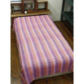 【チャイハネ】カラフルボーダーベッドカバー シングルサイズ ピンク