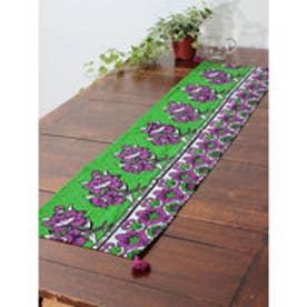 【チャイハネ】アフリカン・カンガ柄テーブルランナー グリーン