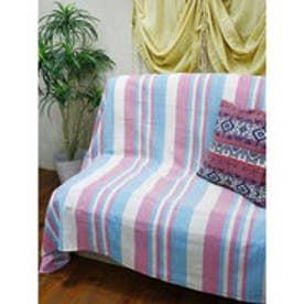 【チャイハネ】インド綿ボーダー柄ベッドカバー シングルサイズ ピンク