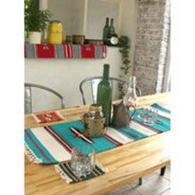【チャイハネ】オルテガ柄ロングプレイスマット / テーブルランナー ターコイズブルー