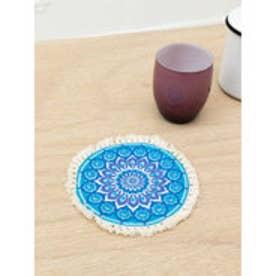 ◆【チャイハネ】曼荼羅フリンジ付きラウンドコースター ブルー