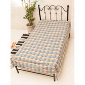 【チャイハネ】マドラスチェック織りベッドカバー シングルサイズ ブルー