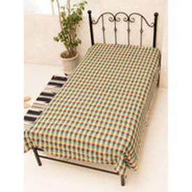 【チャイハネ】ブロックチェック織りベッドカバー シングルサイズ ブラウン