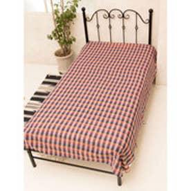 【チャイハネ】ブロックチェック織りベッドカバー シングルサイズ オレンジ