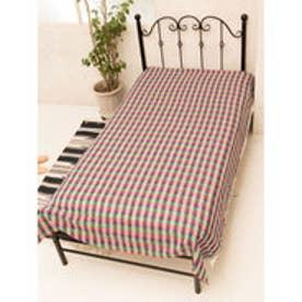【チャイハネ】ブロックチェック織りベッドカバー シングルサイズ パープル