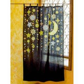 【チャイハネ】夜空に輝く月星カーテン178cm ブラック