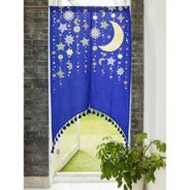 【チャイハネ】夜空に輝く月星アーチのれん ブルー