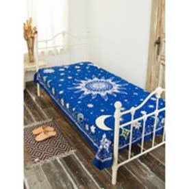 【チャイハネ】夜空に輝く月星ベッドカバー マルチクロス ブルー