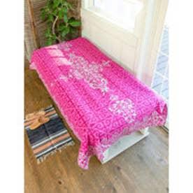 【チャイハネ】イスラミックタイル柄ベッドカバー シングルサイズ ピンク