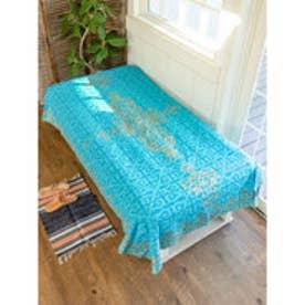 【チャイハネ】イスラミックタイル柄ベッドカバー シングルサイズ ターコイズブルー