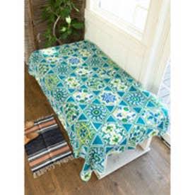 【チャイハネ】オリエンタルタイル柄ベッドカバー シングルサイズ ターコイズブルー