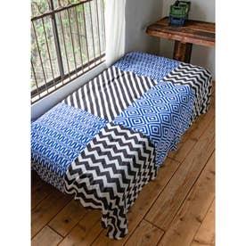 【チャイハネ】和モダン柄ベッドカバー シングルサイズ ブルー