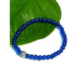 ◆【チャイハネ】ガラスビーズブレスレット ブルー