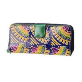 ◆【チャイハネ】インド山羊革コルカタ長財布 ブルー