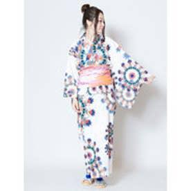 【チャイハネ】万華鏡柄セパレート浴衣 ホワイト