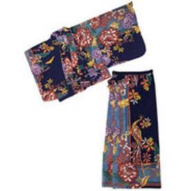 【チャイハネ】カラフルフラワーセパレート浴衣 ブルー