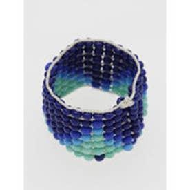 ◆【チャイハネ】ビーズ編みジオメ柄リング ブルー