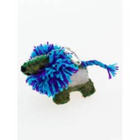 【チャイハネ】ボンバーヘアー犬キーホルダー ブルー