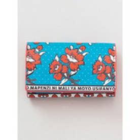 【チャイハネ】アフリカ・カンガ柄 カード&コインケース ブルー