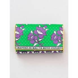 【チャイハネ】アフリカ・カンガ柄 カード&コインケース グリーン