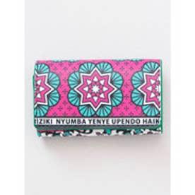 【チャイハネ】アフリカ・カンガ柄 カード&コインケース ピンク