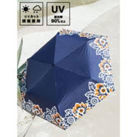 【チャイハネ】フラワ?日傘 晴雨兼用遮光折りたたみ傘 ネイビー