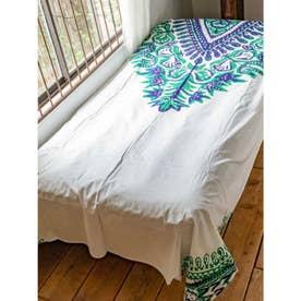 【チャイハネ】アフリカン・ダシキ柄ベッドカバー シングルサイズ ネイビー