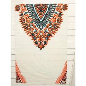 【チャイハネ】アフリカン・ダシキ柄ベッドカバー シングルサイズ オレンジ