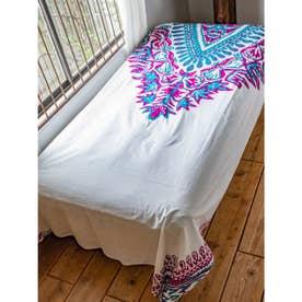【チャイハネ】アフリカン・ダシキ柄ベッドカバー シングルサイズ パープル