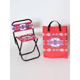 【チャイハネ】セドナ・ネイティブ柄チェア 折りたたみ椅子 ケース付き レッド