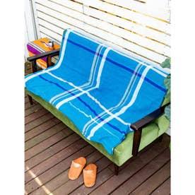 【チャイハネ】マドラスチェック柄ベッドカバーシングルサイズ マルチクロス ブルー