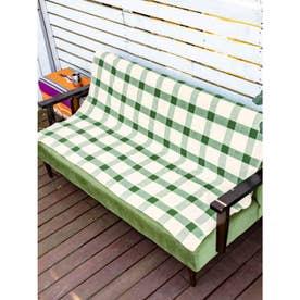 【チャイハネ】ブロックチェック柄ベッドカバーシングルサイズ マルチクロス グリーン