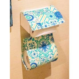 【欧州航路】ポルトガルタイル柄トイレットペーパーホルダー エメラルド