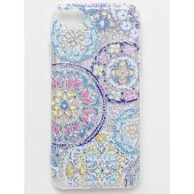 【欧州航路】iPhone8/7 兼用グリッタースマホケース ポルトガルタイル柄 ライトブルー
