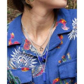 【チャイハネ】カラーストーン3連ネックレス ブルー