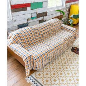 【チャイハネ】イタワ織りチェック柄マルチクロス Lサイズ オレンジ