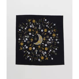 【チャイハネ】小風呂敷 夜空に輝く月星 ブラック