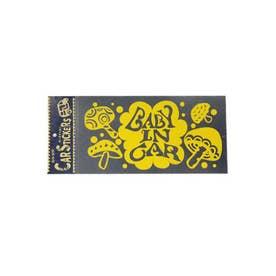 【チャイハネ】耐水・耐熱 カーステッカー きのこ マッシュルーム イエロー