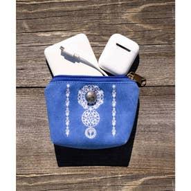 【チャイハネ】セレーネ刺繍ミニポーチ ブルー