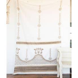 【チャイハネ】ミンティループ付きベッドカバー マルチクロス ホワイト