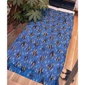 【チャイハネ】アフリカン幾何学柄ループ付きベッドカバー マルチクロス ブルー