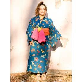 【チャイハネ】メキシカン柄セパレート浴衣 ターコイズブルー