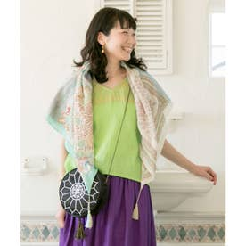 【チャイハネ】シルク100%手刺繍スカーフ グリーン