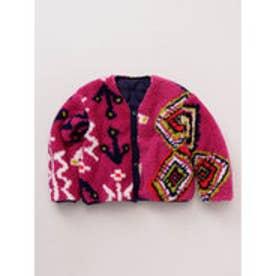 【チャイハネ】プリントボア×無地リバーシブルKIDSジャケット110cm ピンク