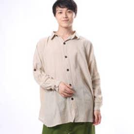 【チャイハネ】yul ネパールコットンドルマンスリーブシャツ オフホワイト
