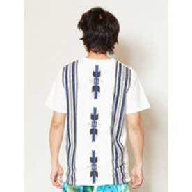 【チャイハネ】オルテガ柄バックプリント メンズポケットTシャツ ホワイト